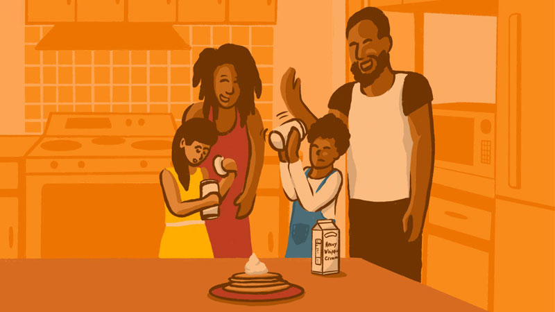 Illustration of a couple standing in the background as their kids make whipped cream in mason jars.