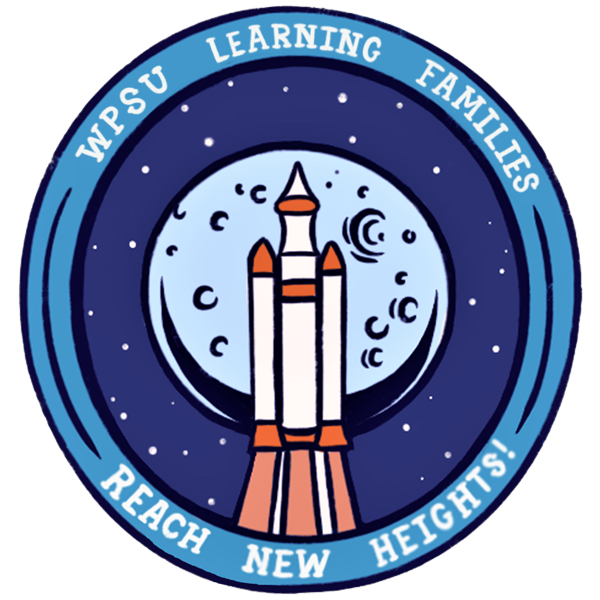 Badge illustration of a rocket in front of the moom with the words WPSU Leaning Families - Reach New Heights!