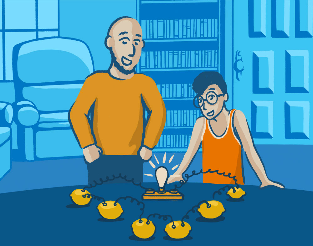 Illustration of a dad observing his kid completing a lemon battery power experiment with a lit up light bulb.