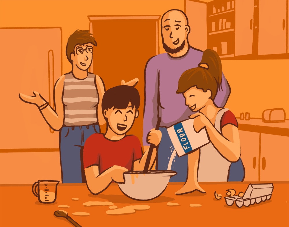 An illustration of parents standing in the background while their son and daughter make a mess in the kitchen with a mixing bowl.