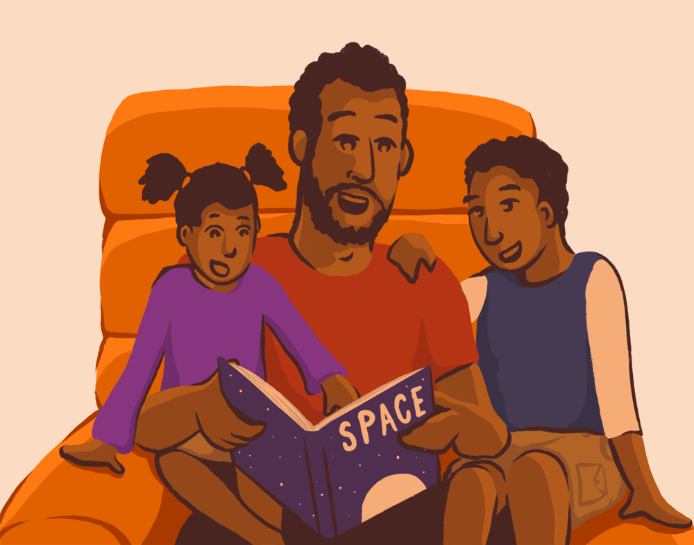 Illustration of a man with his daughter and son reading a book titled, Space.