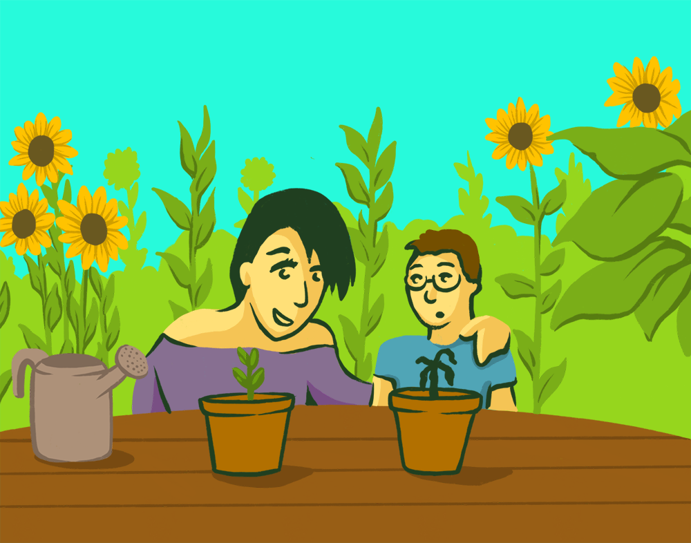An illustration of a mom and her kid observing a two plants, one thriving, the other dying.