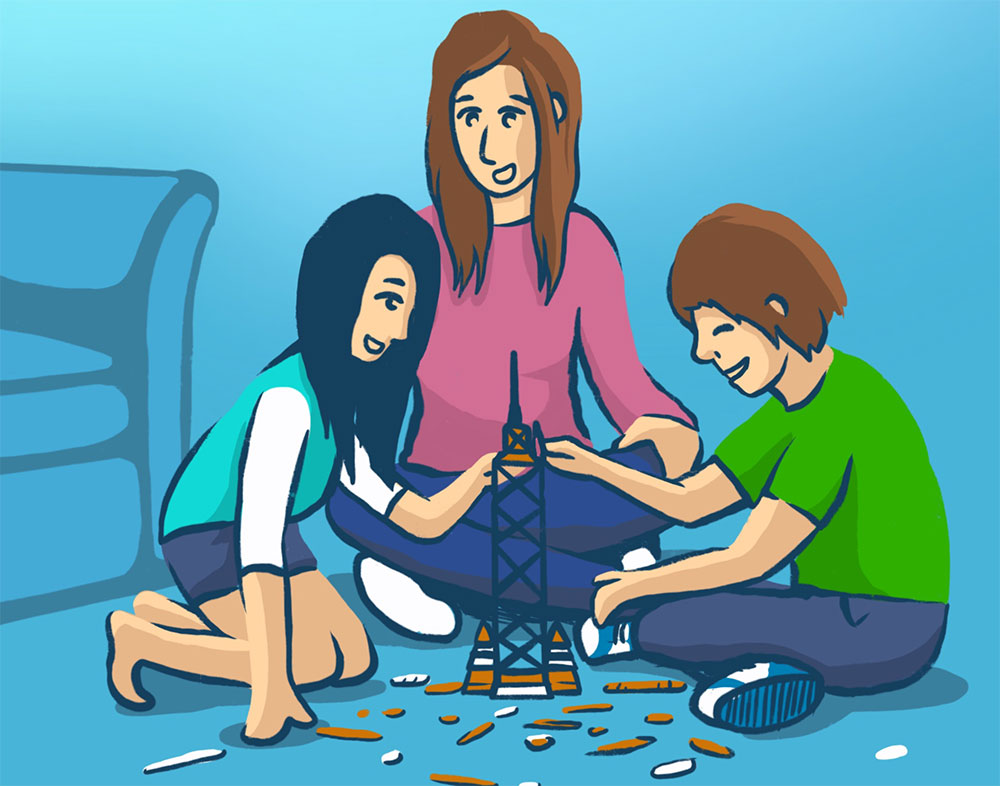 Illustration of a mom with her son and daughter constructing a tower together.
