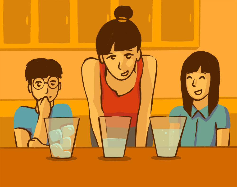 Illustration of a mom with her two children observing glasses of water in different phase states of ice, liquid, and boiling off steam.