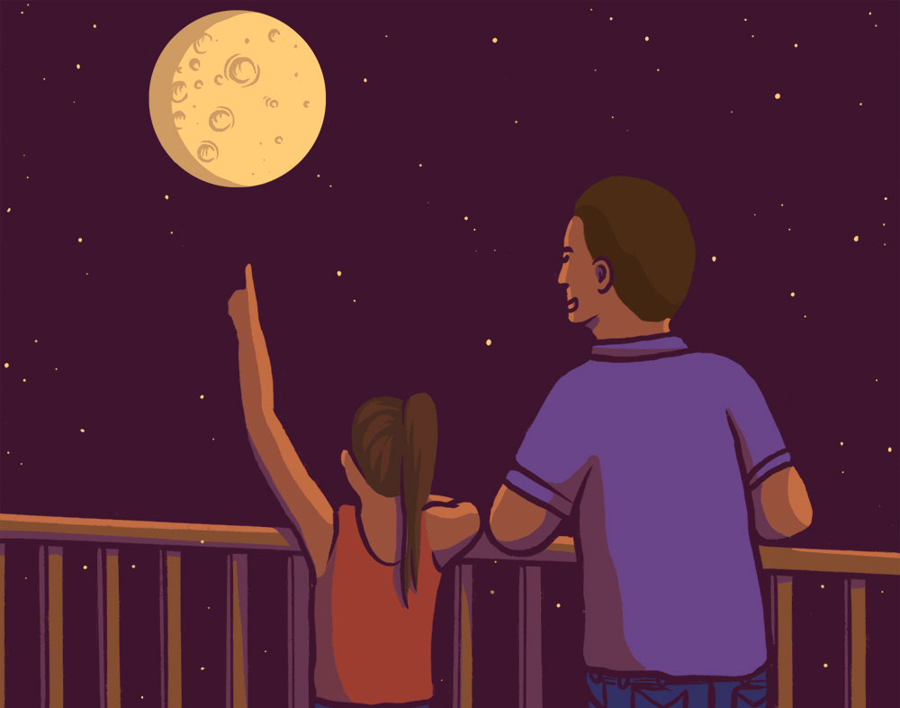 Illustration of a young girl pointing at the moon while her father stands next to her.